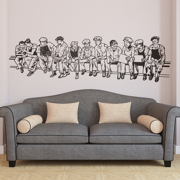 Wall stickers men at lunch - Stickers para decorar paredes ...
