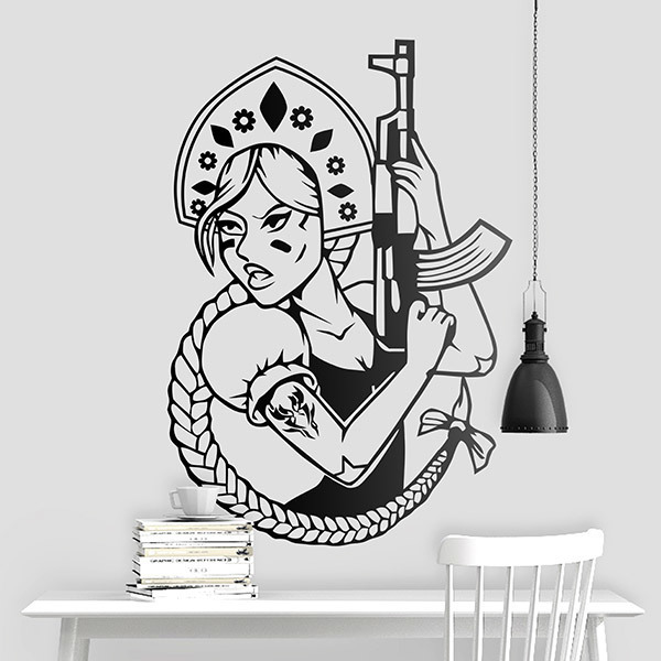 Wall Stickers: Russian girl with an AK47