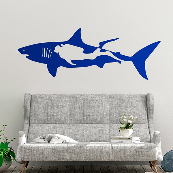 Wall Stickers: Shark and diver