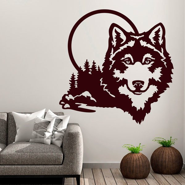 Wall Stickers: Wolf with full moon