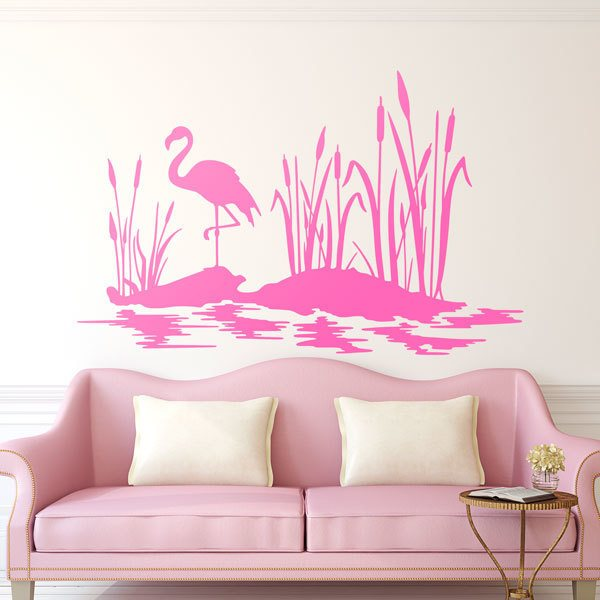 Wall Stickers: Flamenco in the pond