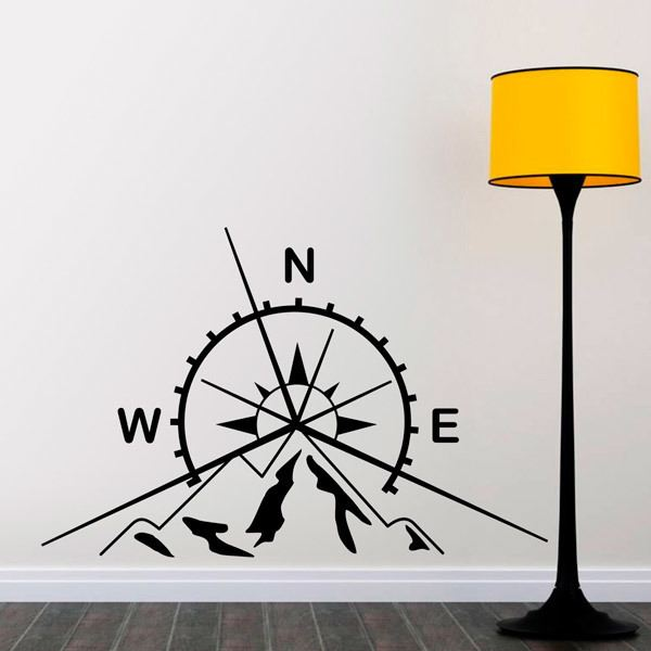 Wall Stickers: Compass and mountains