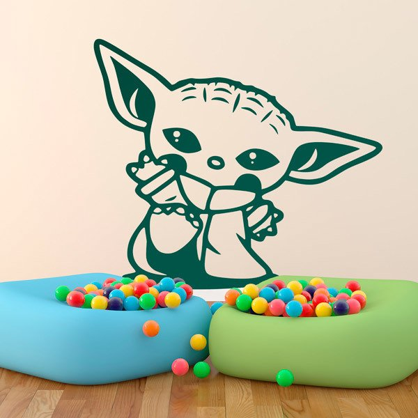Wall Stickers: Baby Yoda greeting