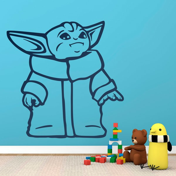 Wall Stickers: Baby Yoda happy
