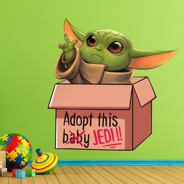 Wall Stickers: Baby Yoda in a box