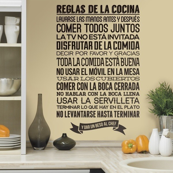 Wall Stickers: kitchen rules - Spanish 0
