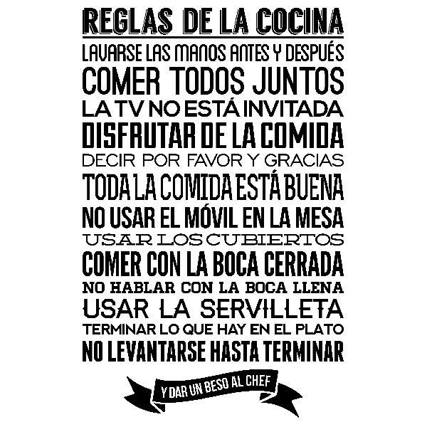 Wall Stickers: kitchen rules - Spanish