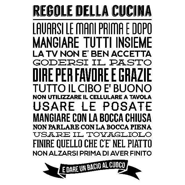 Wall sticker Regole della cucina | MuralDecal.com