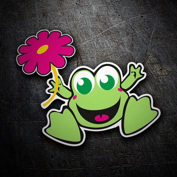 Car & Motorbike Stickers: Frog with flower