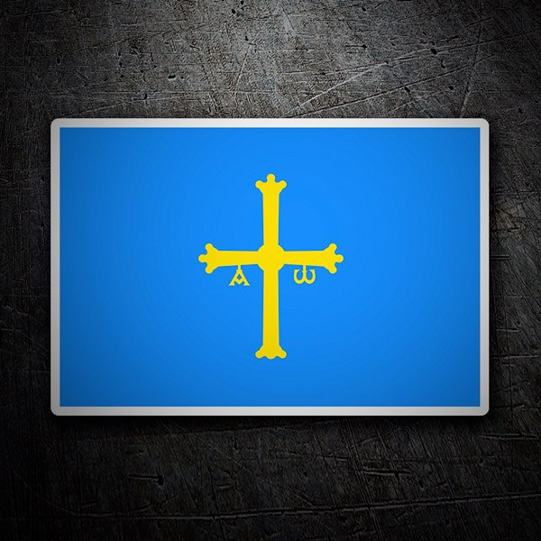 Car and Motorbike Stickers: Asturias flag