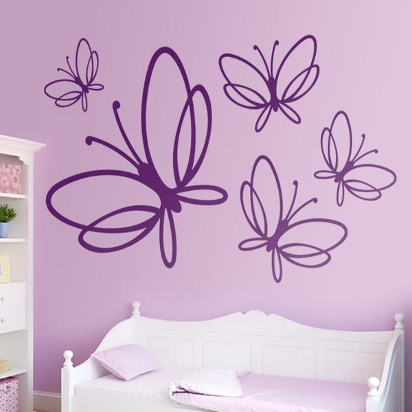 Wall Stickers: Kit 5 Butterflies Noltea