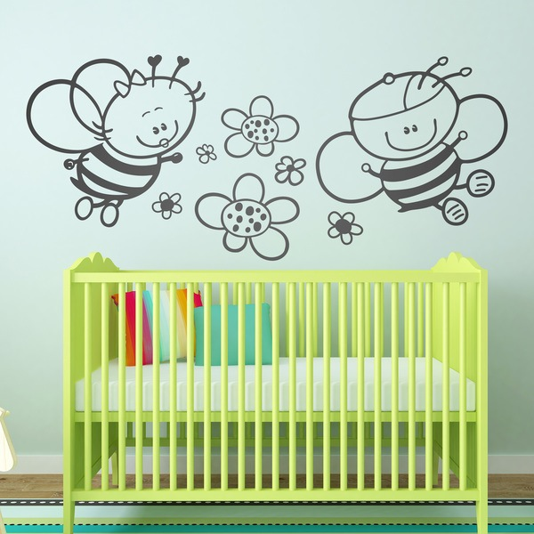 Stickers for Kids: Bee and flowers