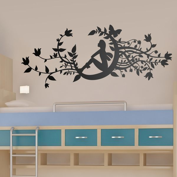 Wall Stickers: Fairy in new moon 0
