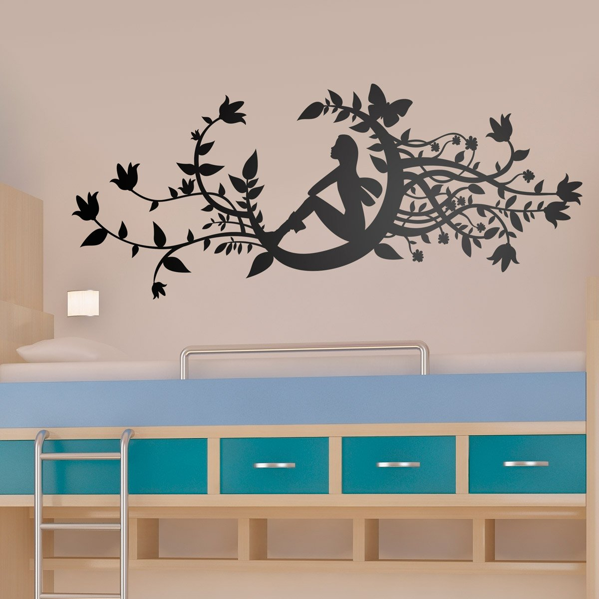 Wall Stickers: Fairy in new moon