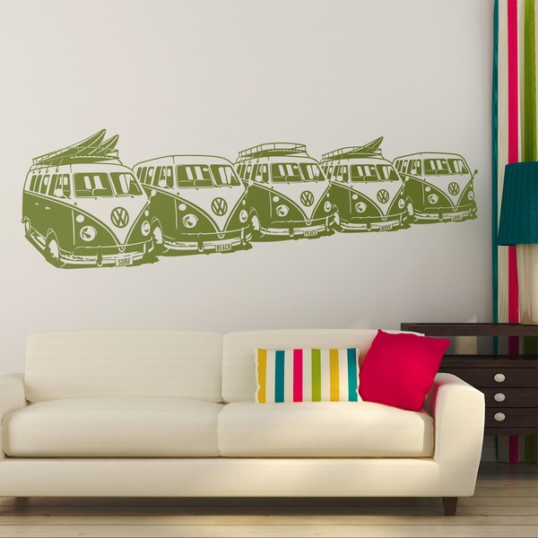 Wall Stickers: 5 Surfer VW Vans