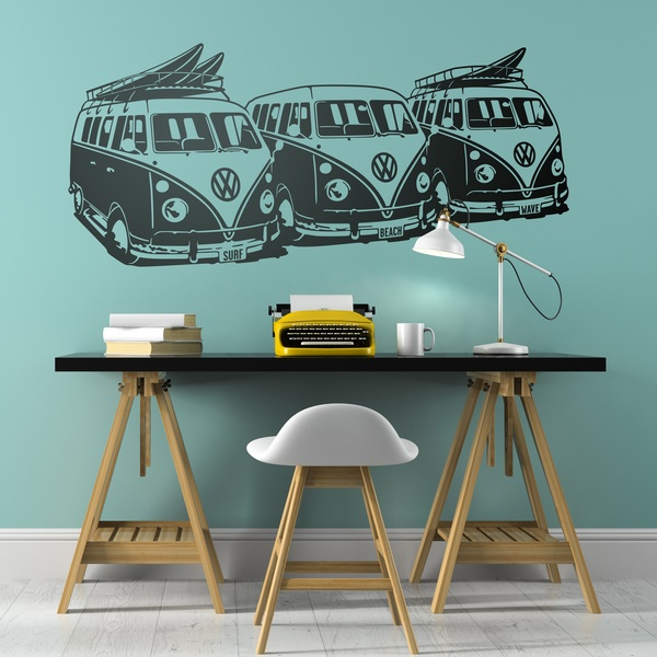 Wall Stickers: 3 Volkswagen Surf Vans