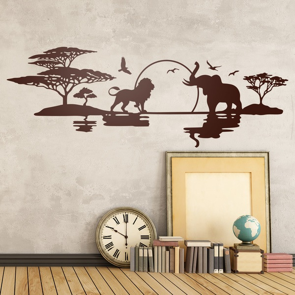 Wall sticker of an african savannah with a sunset and for Stickers para pared decorativos
