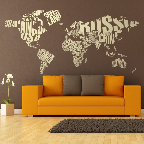World map wall stickers muraldecal wall stickers typographic world map gumiabroncs Images