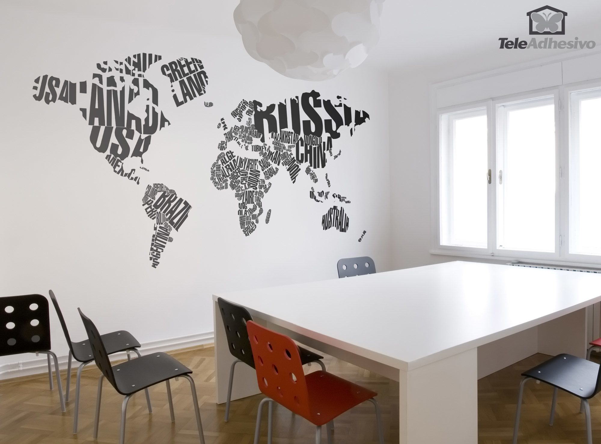 Wall Stickers: Typographic world map