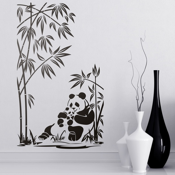 Wall Stickers: Panda bears and bamboo canes