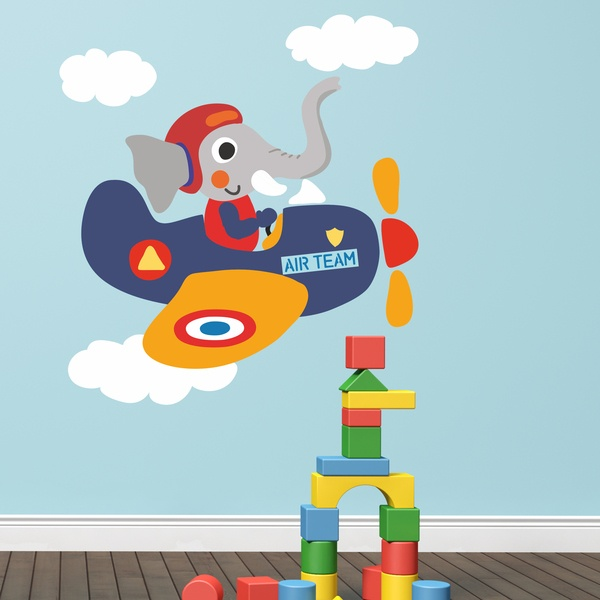 Stickers for Kids: Elephant airplane pilot