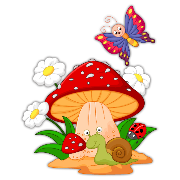 Stickers for Kids: Mushroom, daisies, snail and butterfly