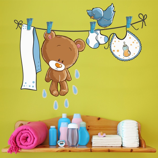 Stickers for Kids: Little bear and bird on the clothesline