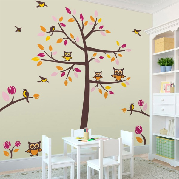 Wall Stickers: Tree with birds and owls 1