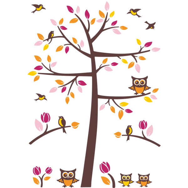 Wall Stickers: Tree with birds and owls 0