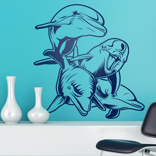 Wall Stickers: 4 Dolphins on sea floor