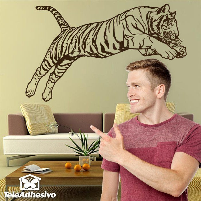 Wall Stickers: Bengal Tiger jump