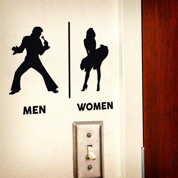 Wall Stickers: Elvis Marilyn Restroom sign english