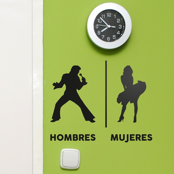 Wall Stickers: Elvis Marilyn Restroom sign spanish