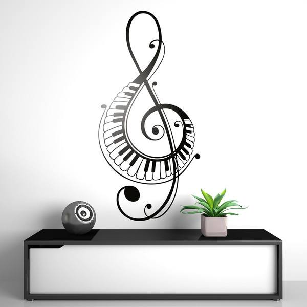 Wall Stickers: Treble clef with piano keys