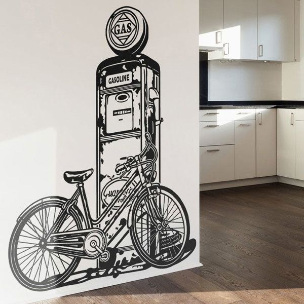 Wall Stickers: Bicycle on vintage fuel pump