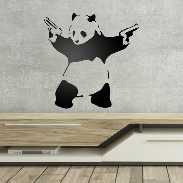 Wall Stickers: Banksy Panda armed
