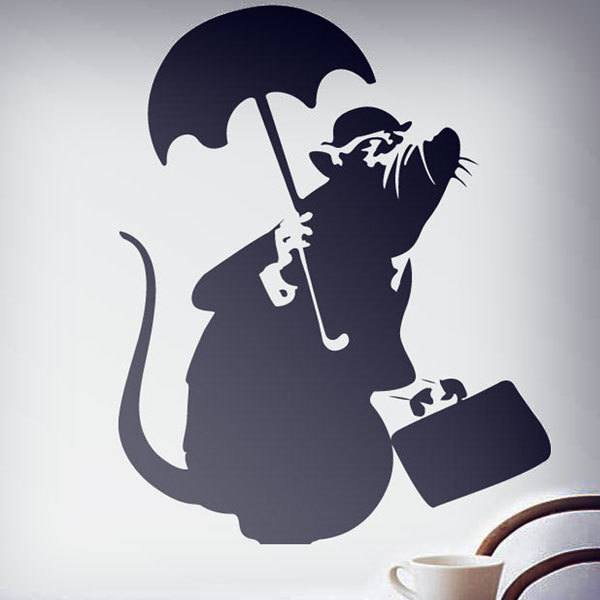 Wall Stickers: Rat with Umbrella by Banksy