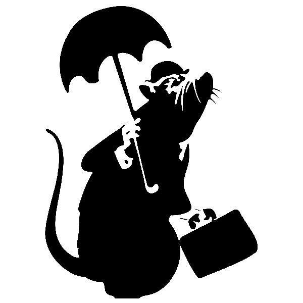 Wall Stickers Rat With Umbrella By Banksy