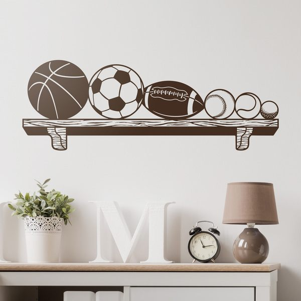 Wall Stickers: Bookshelf with balls