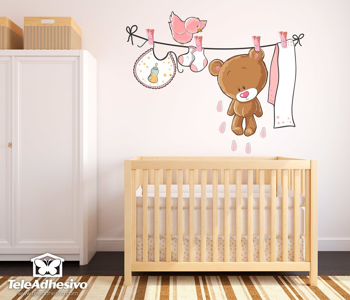 Stickers for Kids: Bear on the pink clothesline