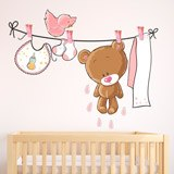 Stickers for Kids: Bear on the pink clothesline 3