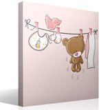Stickers for Kids: Bear on the pink clothesline 4