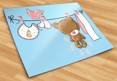 Stickers for Kids: Bear on the pink clothesline 5