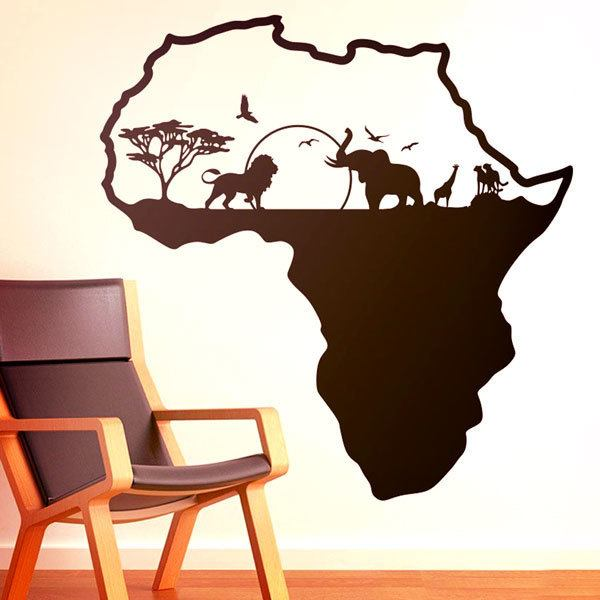 Wall Stickers: Africa silhouette skyline animals