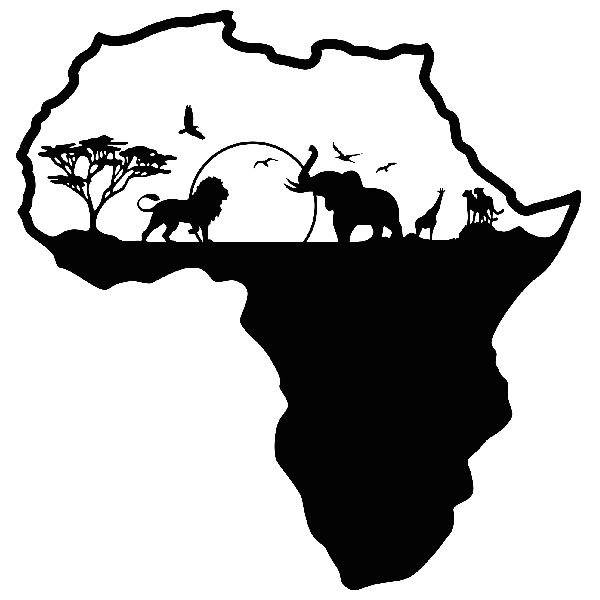 wall stickers africa silhouette skyline animals