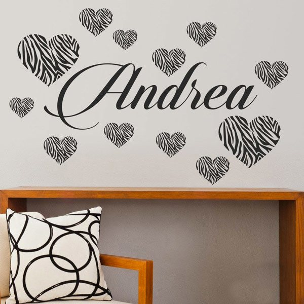 Stickers for Kids: Personalized Zebra Hearts