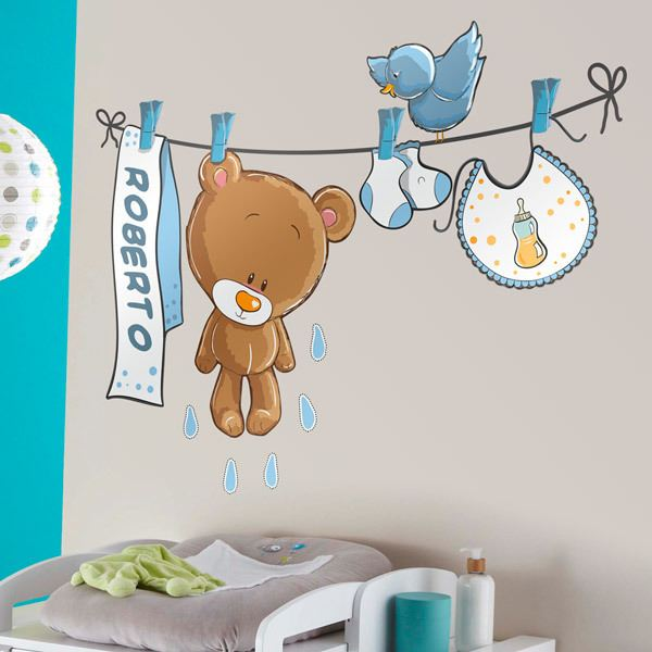 Stickers for Kids: Custom bear on the clothesline blue 1
