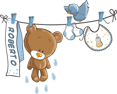 Stickers for Kids: Custom bear on the clothesline blue
