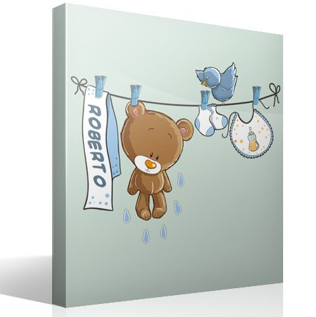 Stickers for Kids: Custom bear on the clothesline blue 3