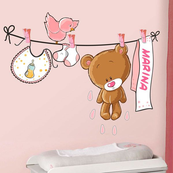 Stickers for Kids: Custom bear on the clothesline pink